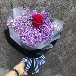 Single Red Rose And purple baby breath Hand Bouquet