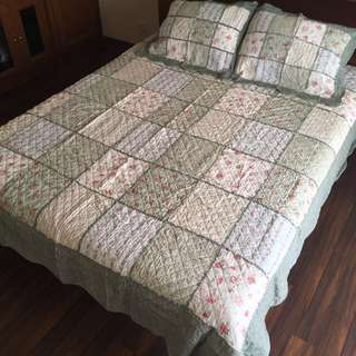 230x250 Bed Cover Shabby Quilt Patchwork Sprei Dan Sarung Bantal Bunga Mawar