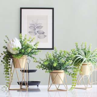 PO Gold Steel Pot With Artificial Plant