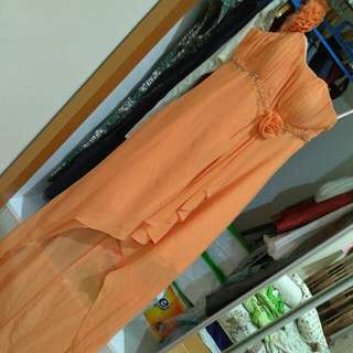 Gaun Pesta Orange High Quality