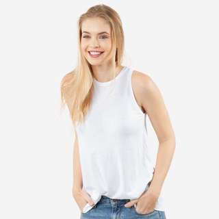 NEW Grana Women's Pima Modal Trapeze Tank in white 入膊白色背心