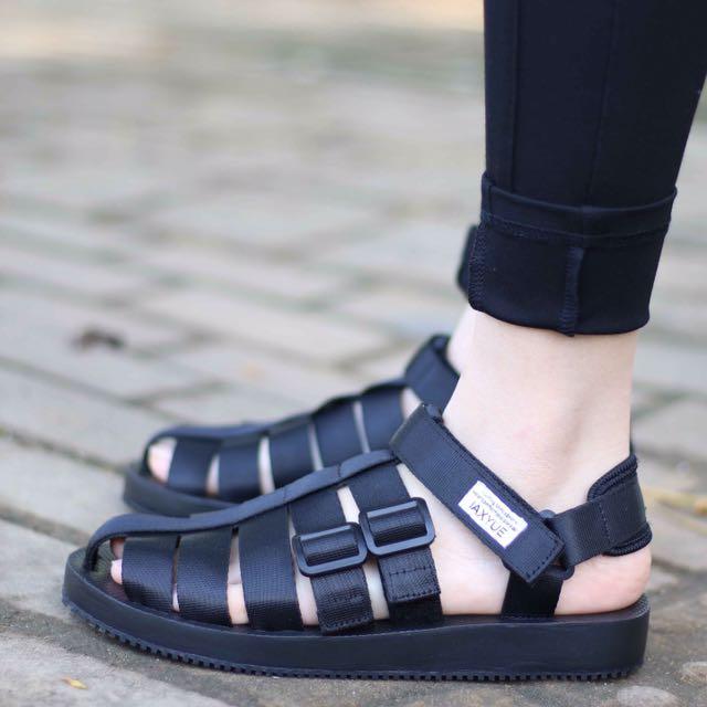 夏季新款時尚韓版原宿港風學生情侶男女厚底戶外包頭沙灘涼鞋潮牌