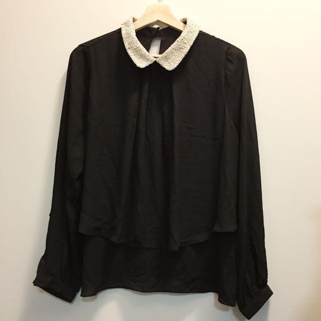 金蔥領子黑色雪紡層次上衣🖤
