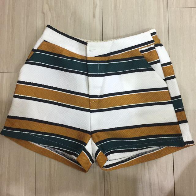 彩色橫條顯瘦短褲#女裝九九出清