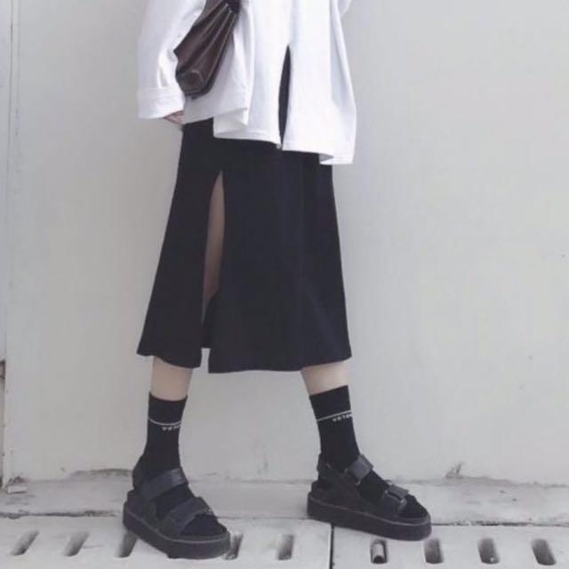 黑色個性開叉高腰鬆緊半身裙 中長裙