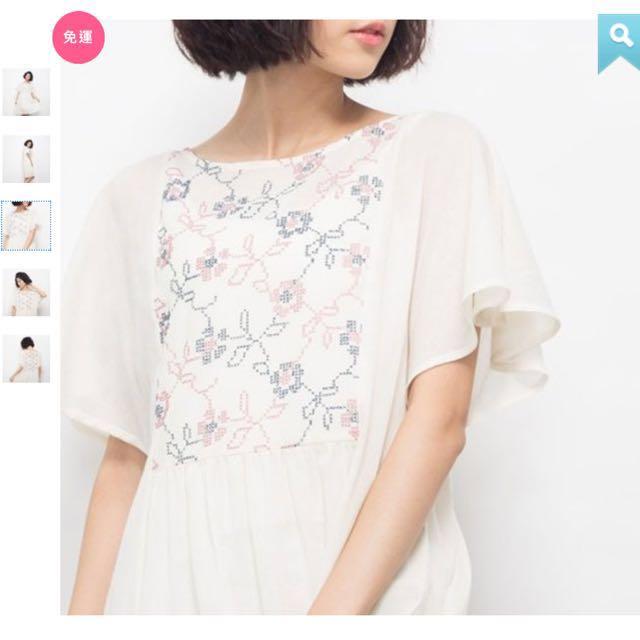 全新五折轉售 台灣好品牌 許許兒 織花漫漫刺繡水花袖洋裝