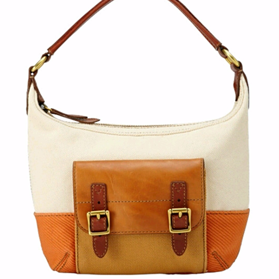 Fossil Tate Small Hobo Orange Multi Canvas Leather Handbag Women S Fashion Bags Wallets On Carou