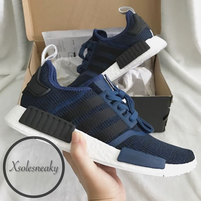 e226cf384 ... core black collegiate navy f779e 96693  sweden adidas nmd r1 mystic blue  mens fashion footwear on carousell 1d757 9ade0