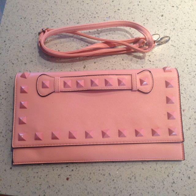 Adorn Pink Studded Clutch