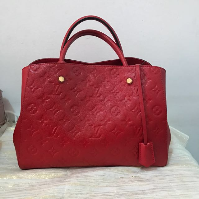 Authentic Louis Vuitton Montaigne MM Red