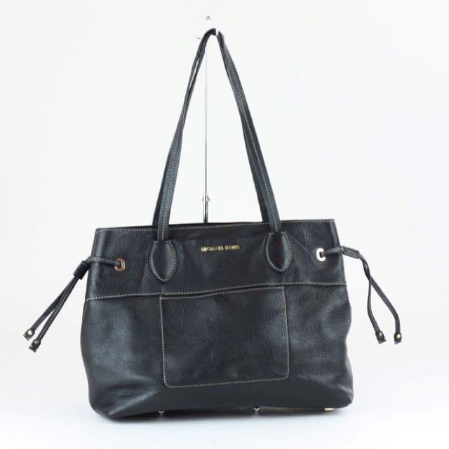 Authentic Michael Kors Mae East West Drawstring Tote- Black