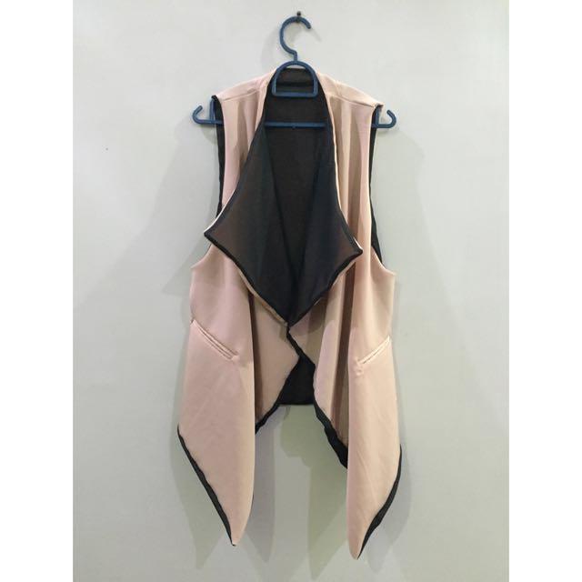 Beige / Black Reversible Sleeveless Jacket