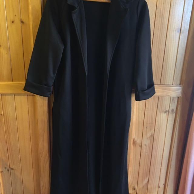 Black boohoo duster jacket
