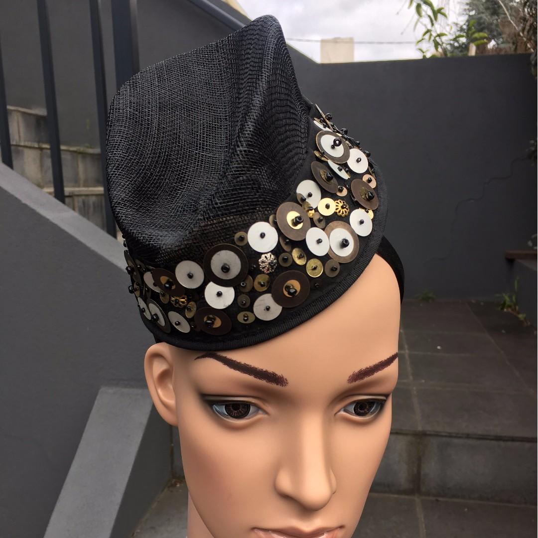 db167bfa0 Black fascinator hat headband w metallic sequins, Spring Racing ...