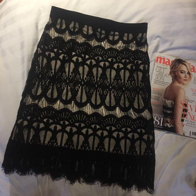 Black Long Lace Skirt
