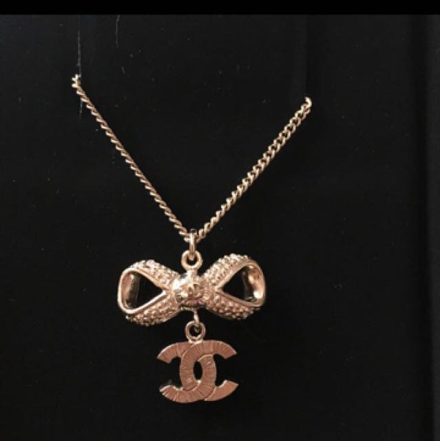 Brand new authentic chanel necklace with rhinestone cc and ribbon brand new authentic chanel necklace with rhinestone cc and ribbon pendant luxury accessories on carousell aloadofball Images