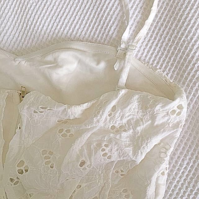 Broderie white jumpsuit shorts