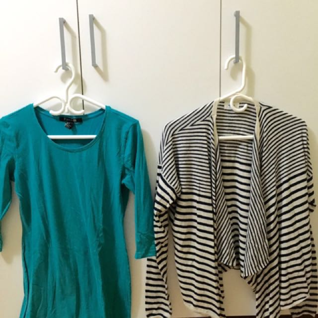 Buy 1 Take 1: Forever 21 Teal Dress (M-L) | Old Navy Cardigan (M)