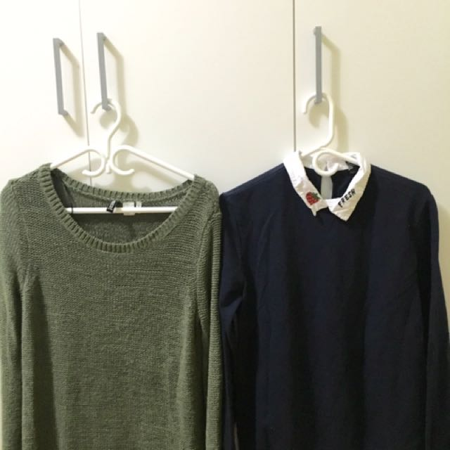 Buy 1 Take 1: H&M Green Knit (M)| F21 Blue (M)