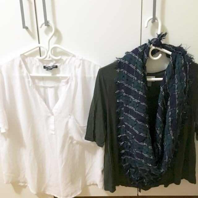 Buy 1 Take 1: Urban White Top (L)| Old Navy Green Top | Free Scarf