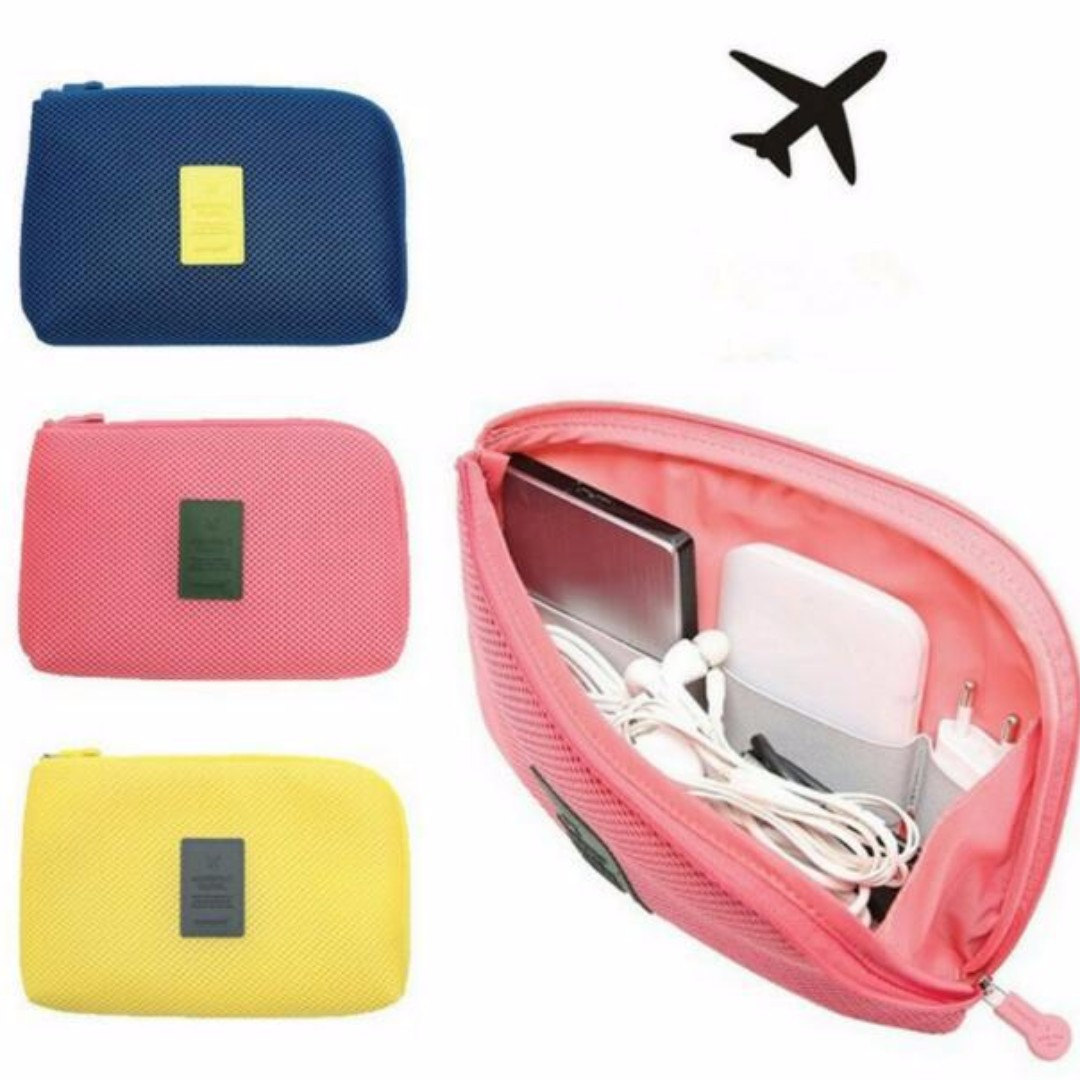 Cable Pouch Multifunction Storage Bag Makeup Cosmetics Smartphone Charger Earphones Cable Case for Travel and Daily
