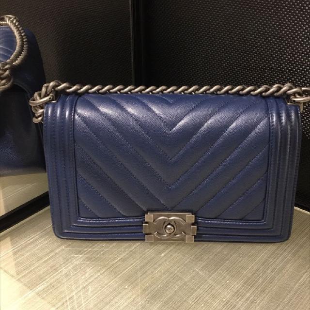 3a4afcf4fd18 Chanel Navy Chevron Seasonal Caviar Boy Bag