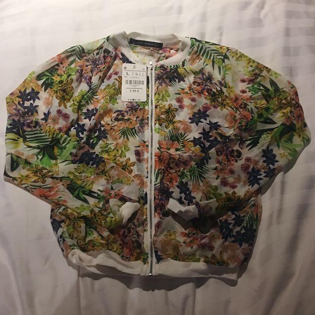 CNNC Floral see-though sheer baseball jacket