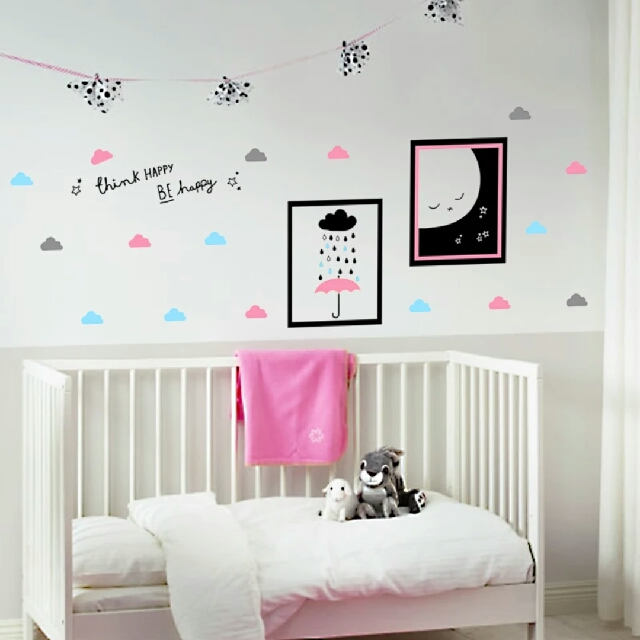 nordic ins colorful clouds baby room, children 's room pvc wall