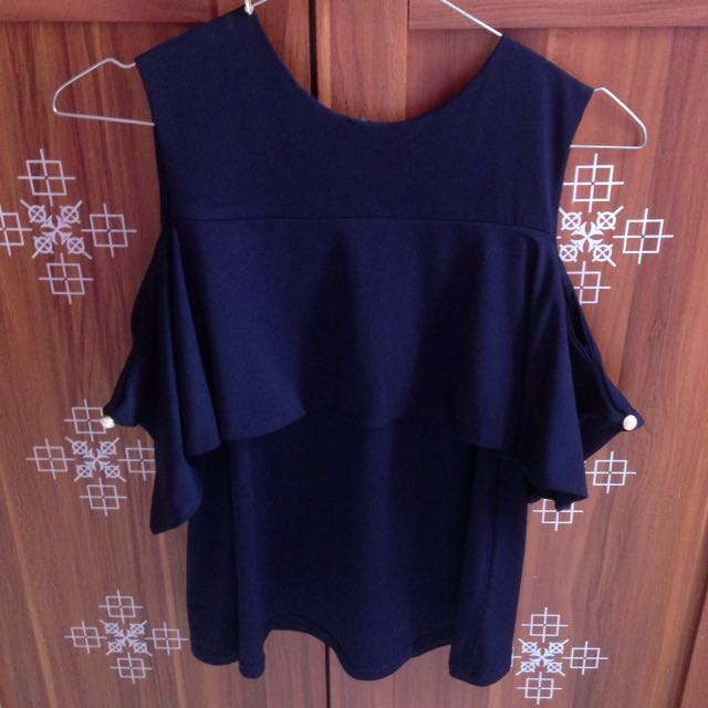 Cut off shoulder top navy