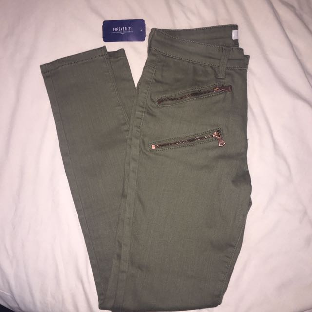 F21 ARMY GREEN DENIM PANTS