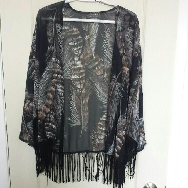 Feather Printed Fringe Kimono