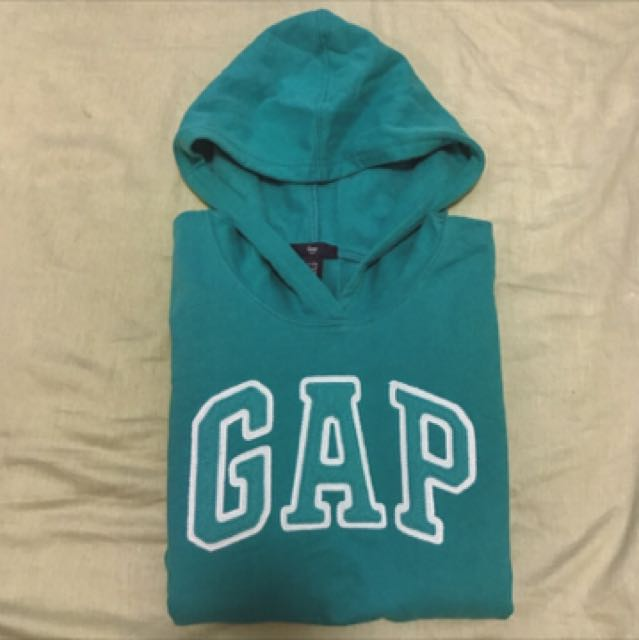 Gap 日本購入 湖水綠 經典 長袖薄款 帽T