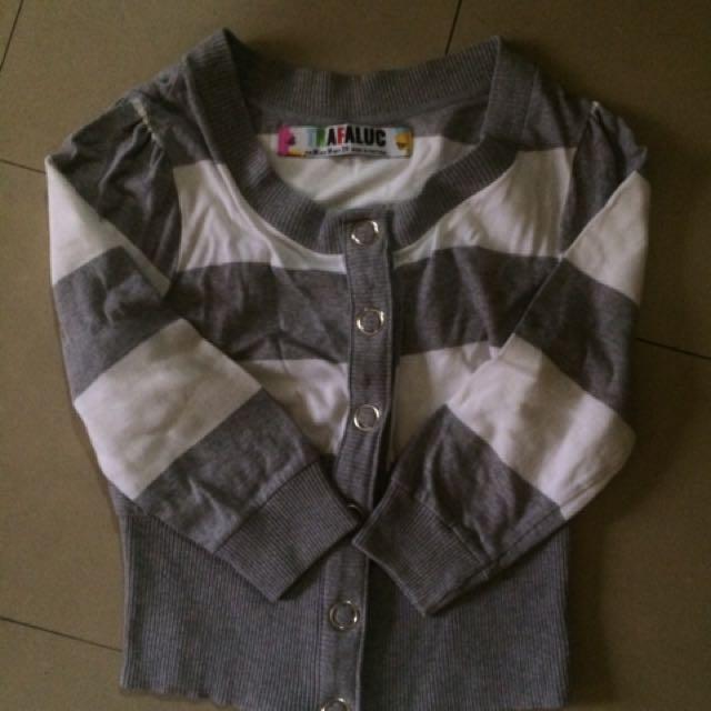 Grey striped cardigan