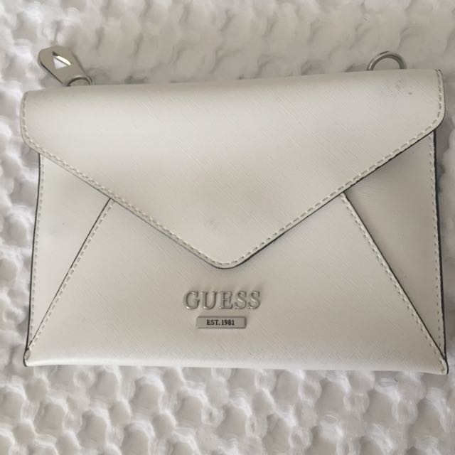 Guess white pouch/bag