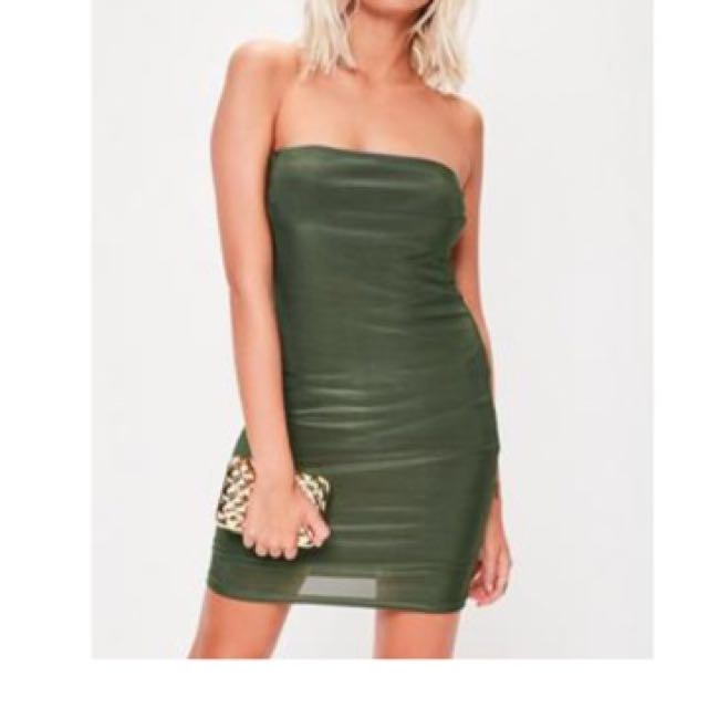 Khaki Mini Slinky Dress - Double Layered