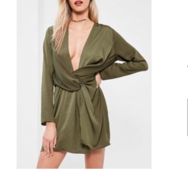 Khaki Satin Wrap Dress - Khaki - Size 10