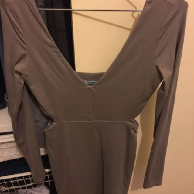 Kookai Taupe Long Sleeve Dress
