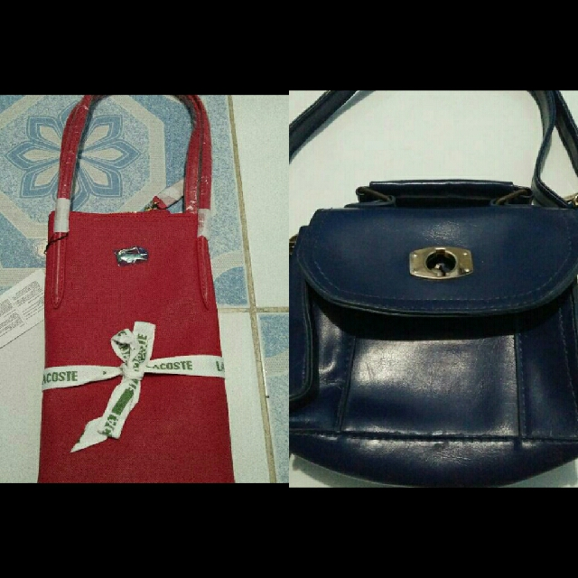 Lacoste bag and unbranded slung bag