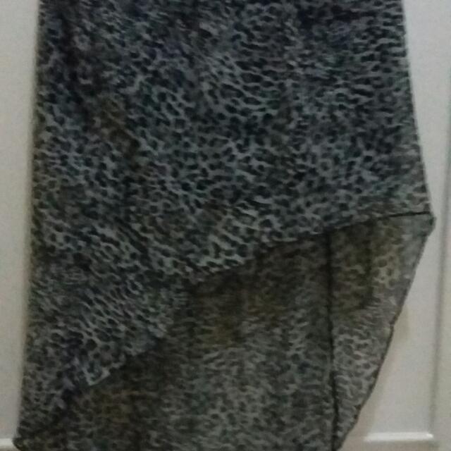 leopard long back skirt