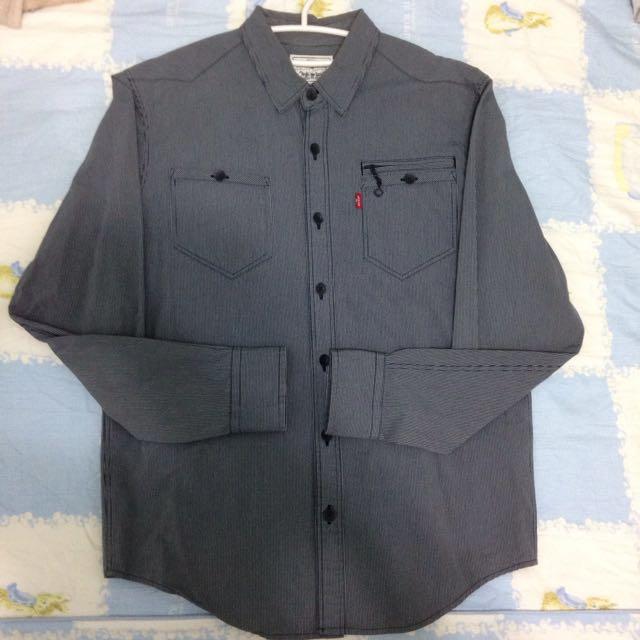 Levis 條紋 襯衫 黑灰 雙口袋