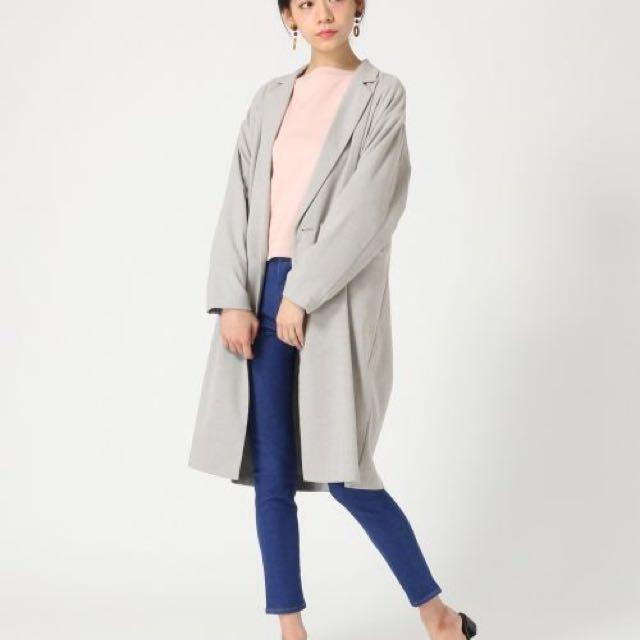 Lowrys Farm#薄西裝外套長大衣#淺灰#日本購入