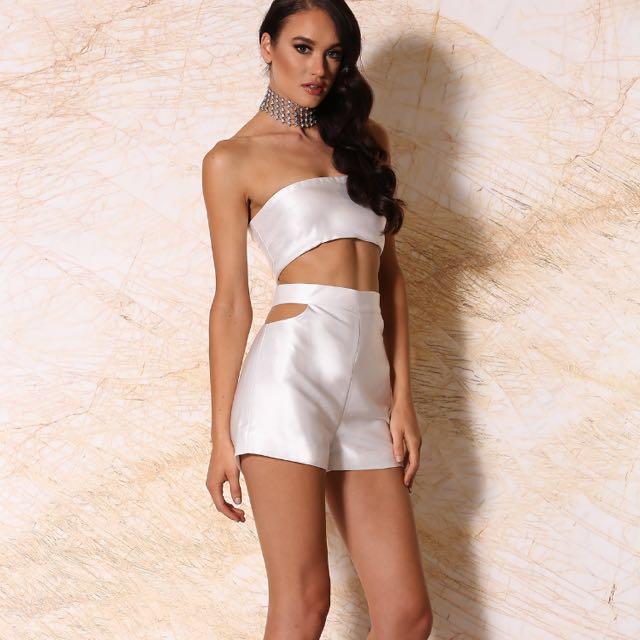 Meshki White Strap/strapless Bandeau & Shorts