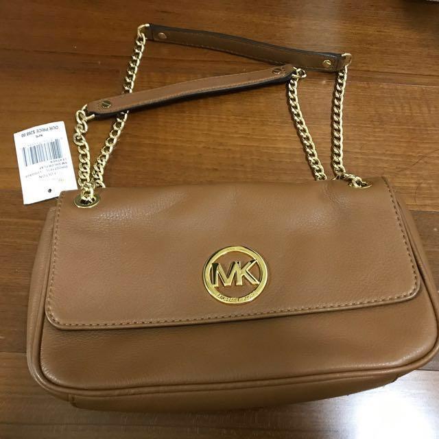 MK-MICHAEL KORS棕咖啡色兩用鏈子包包(保證正品)