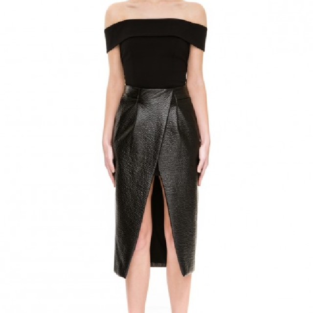 (NEW) Authentic Finders Keepers Sweet Talker Faux Leather Skirt // Rok Wanita