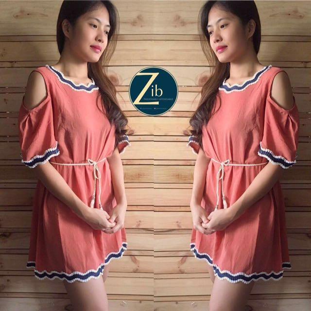Peach Cold Shoulder dress w/ belt