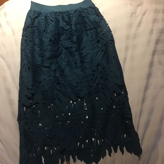 Peacock Blue Floral Lace Skirt