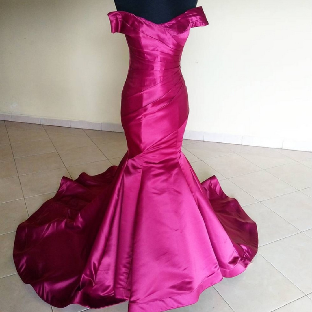 Pink/Fuchsia mermaid wedding gown/Dress/ Evening gown, DND, Party ...