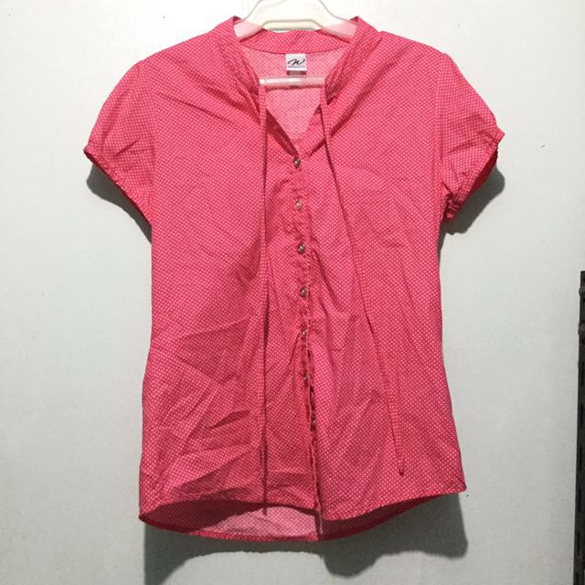 Polka dotted Pink Blouse