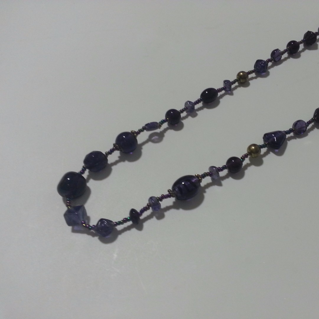 Purple bead and stone necklace