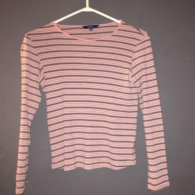 Reitmans Pink striped long sleeve